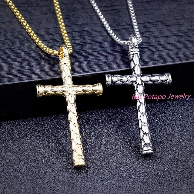 fashion cross necklaces pendants womenmen christmas gifts gold color stainless steel religious christian