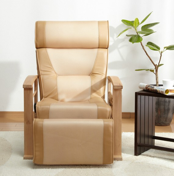 Height Adjustable Leather Recliner With Pull Out Stool Living Room Modern Reclining Sofa Chair Armchair Furniture For Elderly