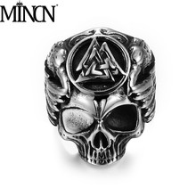 MINCN Men ring men jewelry Viking Odin Crow Skull Ring Retro Stainless Steel Mens Wing