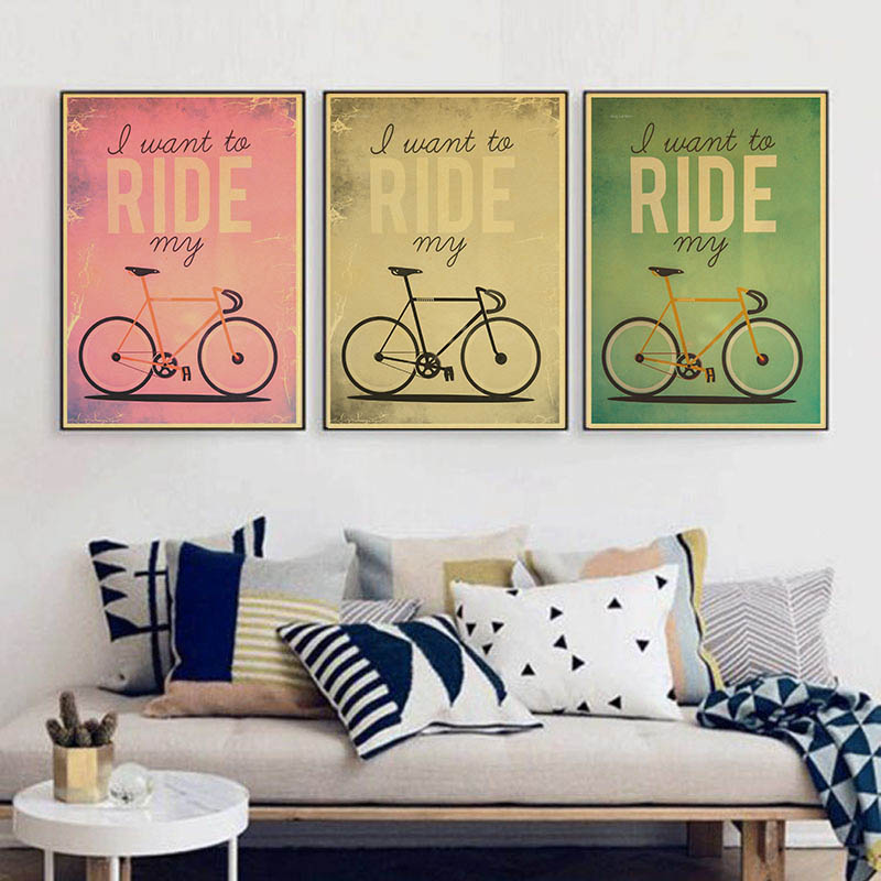 Retro Bicycle Poster Vintage Paper Poster Wall Painting Home Decoration 42X30 CM 30X21 CM
