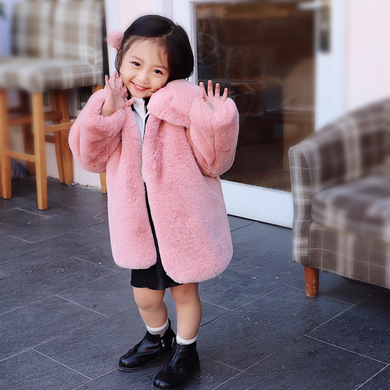 Elegant Faux Fur Camel Coat Baby Autumn Winter Warm Soft Zipper Fur Jacket Plush Pink Turn