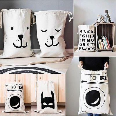 Large Baby Toys Storage Canvas Bags Bear Batman Laundry Hanging Drawstring Bag Cute Household Canvas Pouch