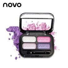 NOVO 4 colors professional make up eyeshadow palette balm nude tude naked basics glitter pigment eye shadow cream urban makeup