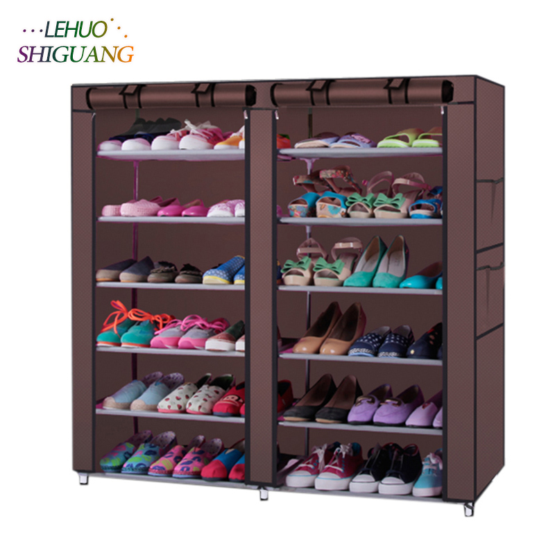 Double row Shoe rack coffee Non-woven fabric organizer storage cabinet Assembly shelf Shoe cabinet home living room Furniture double row 12 grid shoe rack wine red non woven organizer storage cabinet assembly shelf shoe cabinet home living room furniture