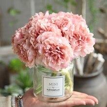 Bouquet de fleurs artificielles pivoines | Pour décoration de mariage, 5 têtes de pivoines, fausses fleurs décoratives de maison, hortensias en soie, fleur bon marché