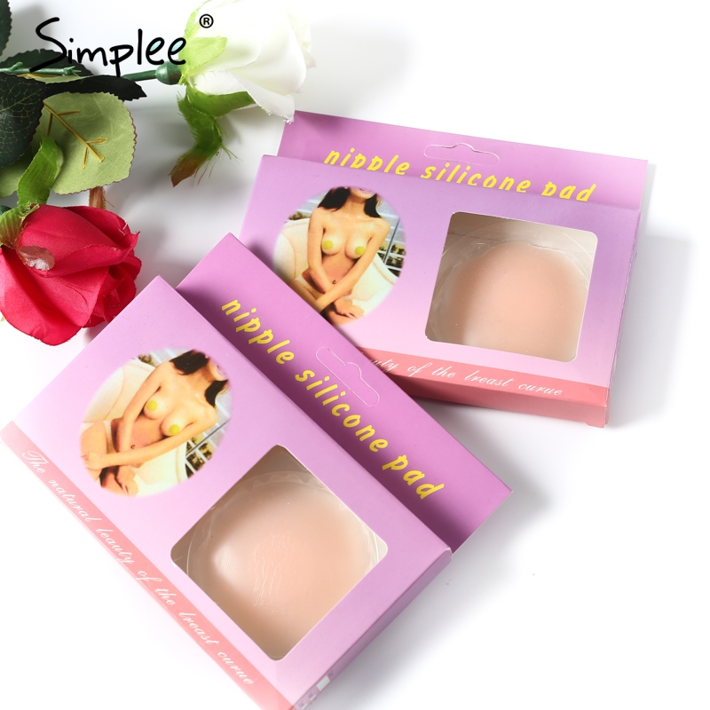 Simplee Round flower breast petals pasties nipple cover Invisible bra breast stickers Reusable adhesive silicone bra sticker