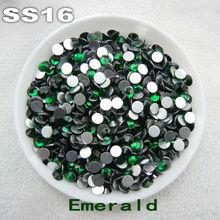 Non hotfix SS16 3.8-4.0mm 720pcs Emerald Color Glue on Flat Back Glass Rhinestones Nail Art phone cover handicraft Diy