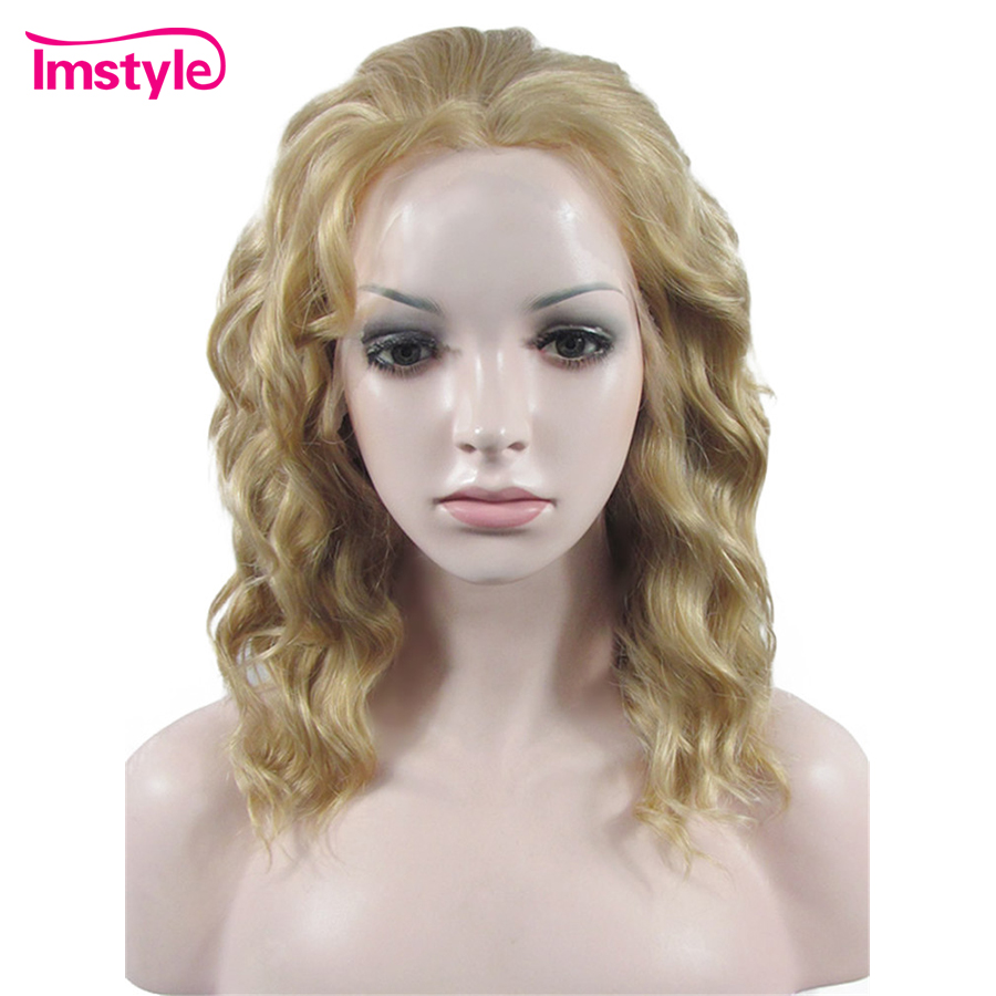 Imstyle Short Wig Blonde Wigs For Women Synthetic Lace Front Wig Deep Heat Resistant Fiber Natural
