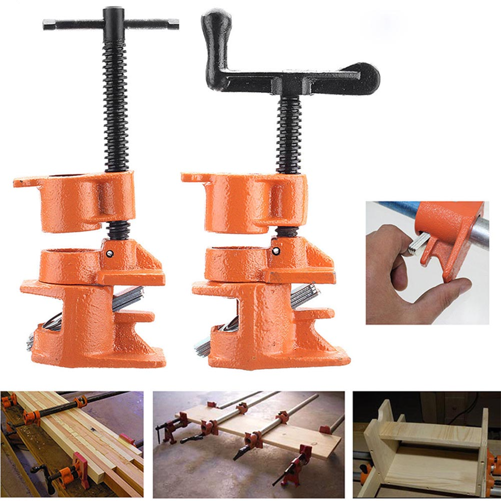 1/2 3/4inch Wood Gluing Pipe Clamp Set Cast Iron Heavy Duty Woodworking Carpenter Tool JDH99