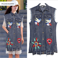 2017Women Spring Fashion Jeans Jacket Sleeveless Denim Coat Floral Embroidery Ripped Frayed Long Jackets Loose Vintage