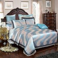 משי אקארד יוקרה כותנה כחולים סאטן סט מצעים/כיסוי מיטה בגודל קינג מלכת סט סדין 4 יחידות