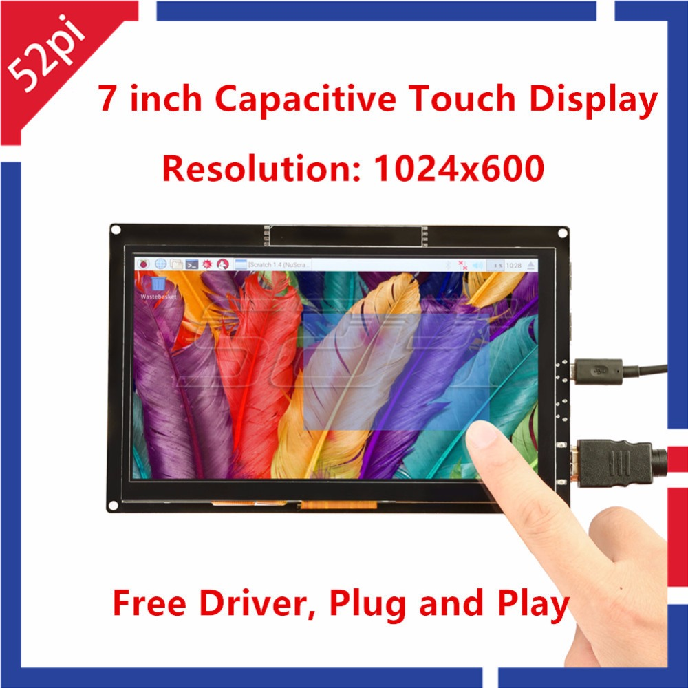 52Pi Free Driver 7 inch 1024*600 Capacitive Touch Display Screen Monitor for Raspberry Pi/Windows/Beaglebone Black Plug and Play acv pi 622