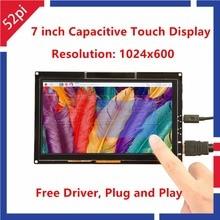 52pi driver 7 polegadas 1024*600 tft, tela de toque capacitiva para raspberry pi 4 b todas as plataforma/windows/beaglebone black