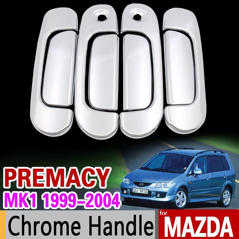 for Mazda Premacy 1999-2004 Chrome Handle Cover Trim Set for Frod Ixion 2000 2001 2002 2003 Car Accessories Sticker Car Styling аксессуар чехол флип dexp ixion es150 blue