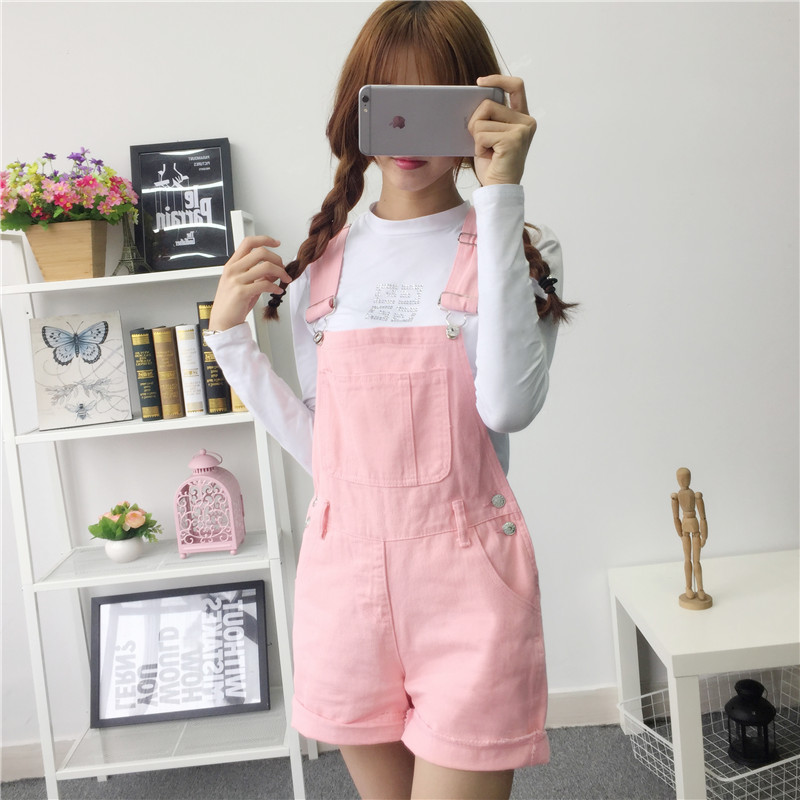 Denim Overalls Shorts Jumpsuit Women Spring Summer Korean Lovely Girls Playsuits Casual Candy Color Jumpsuits Rompers