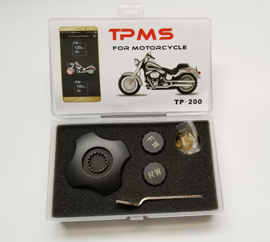 Wireless Motorcycle Bluetooth Tire Pressure Monitoring System TPMS Mobile Phone APP Detection 2 External Sensors