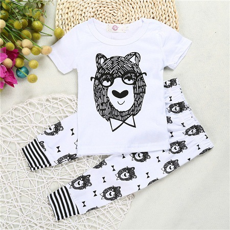 Clearance sales Newborn Baby Boy Bowtie Bear Clothing Set Toddler Clothes Set Boys Outfits Tiger Suit T Shirt And Pants Spring