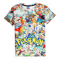 Arcade Collage T-Shirt Pikachu Kirby Pokemon Go arcade style Cartoon Character t shirt Women/Men Summer Style tee PA013