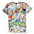 Colagem T-Shirt Pokemon Pikachu Kirby Ir arcade Arcade estilo Personagem de Banda Desenhada camiseta Mulheres/Homens Estilo Verão tee PA013