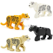Single Sale Tiger Panther Snow Leopard Jungle Adventure series Building Blocks Set Model Bricks Toys for Children