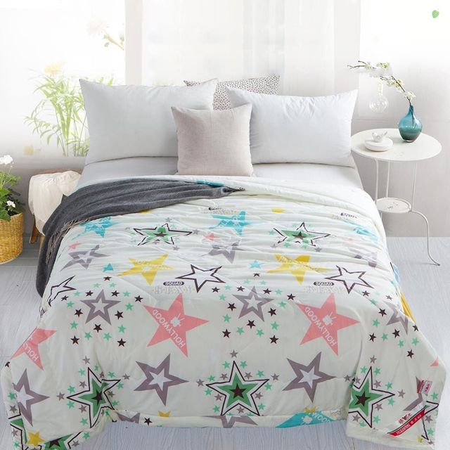 Fashion Summer Quilt Thin Twin/Full/Queen/King Size Bed Coverlet Stars Blue