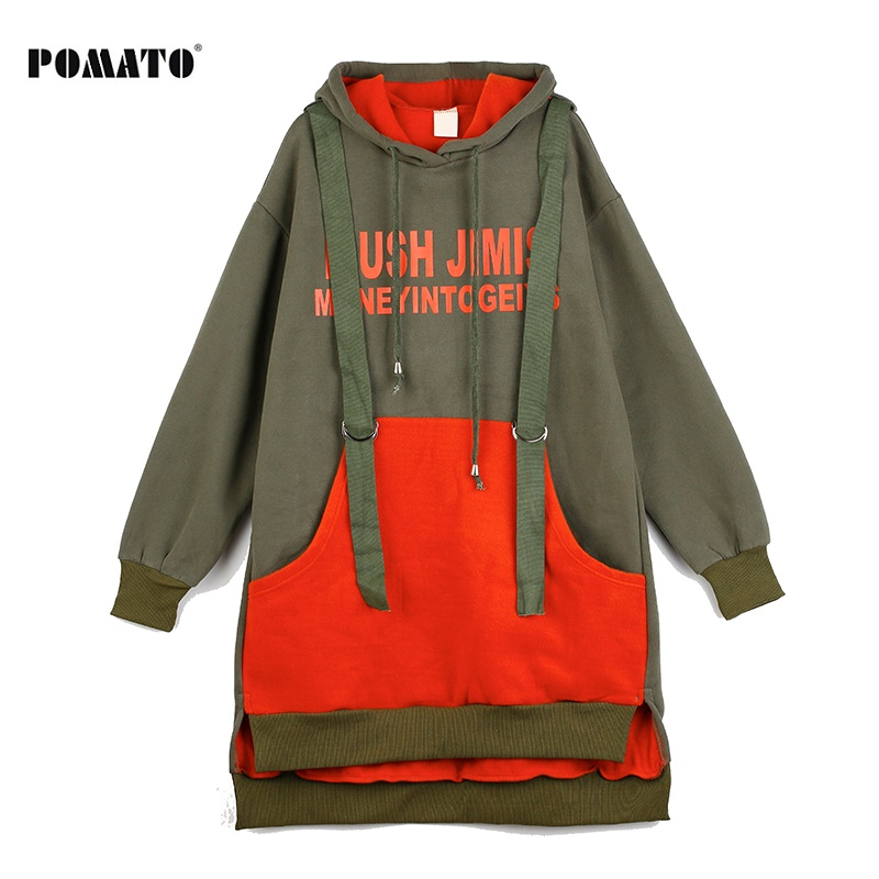 Melinda Style 2017 new women fashion sweatshirt letter printing pattern red and green contrast colors hooded pullover top red sexy active letter pattern top