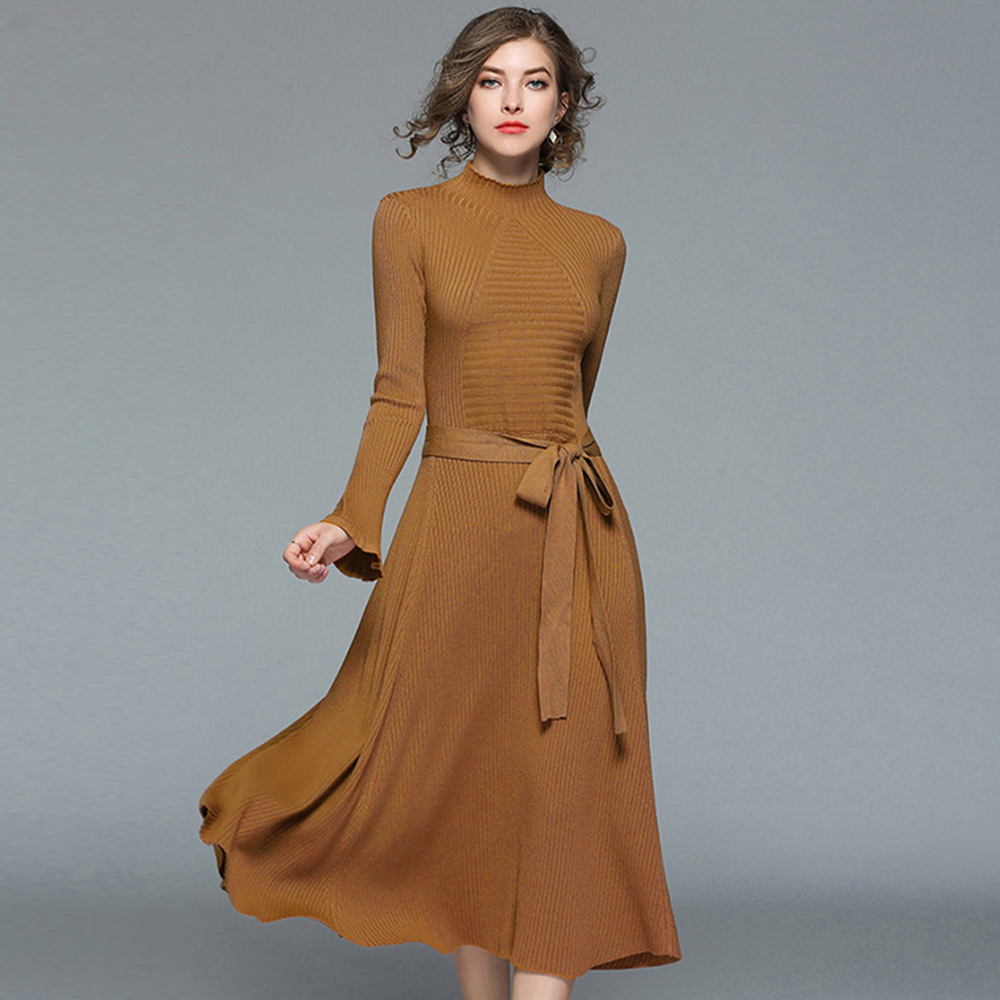 High quality Solid Color Woman Knitted Dress Fashion All-Match Female Slim Midi Dress OL Calf Length Party Dress 5253
