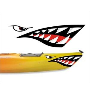 Image 2 - 2 шт. водонепроницаемый DIY Забавный гребной Каяк Лодка Акула зубы рот Наклейка Виниловая наклейка для Каяка каноэ лодка левая и правая