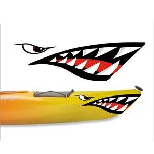 Image 2 - 2 Pcs Wasserdichte DIY Lustige Rudern Kajak Boot Shark Zähne Mund Aufkleber Vinyl Aufkleber Aufkleber Für Kajak Kanu Boot Links & rechts