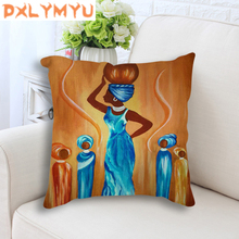 Decorative Back Cushion Cover African Life Oil Painting Printed Pillowcase Sofa Linen Cotton Throw Pillow Case Home Decor все цены