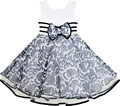 Sunny Fashion Girls Dress Sleeveless Tulle Paisley Pattern Pearl Bow Tie Stripe 2017 Summer Princess Wedding Party Size 4-10