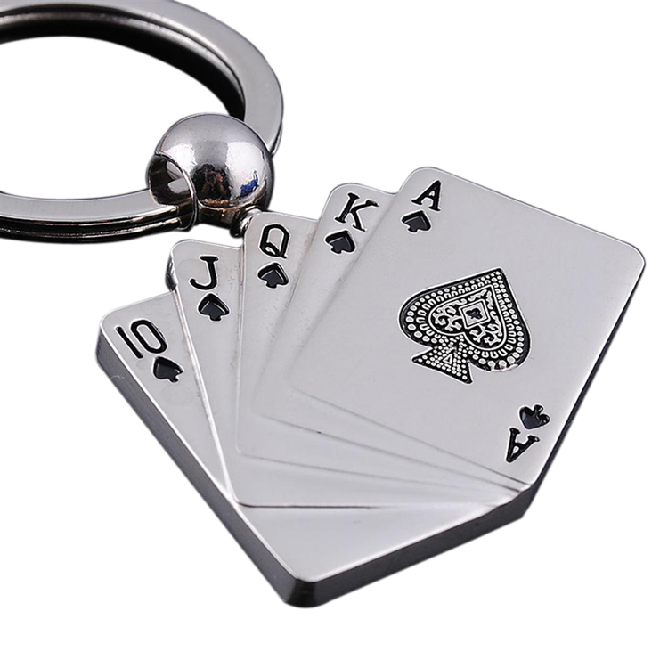 4cm*3cm Newly High Quality Funny Gift Key Chain Poker Pattern Male Personality Metal Key Chain KEY-0006
