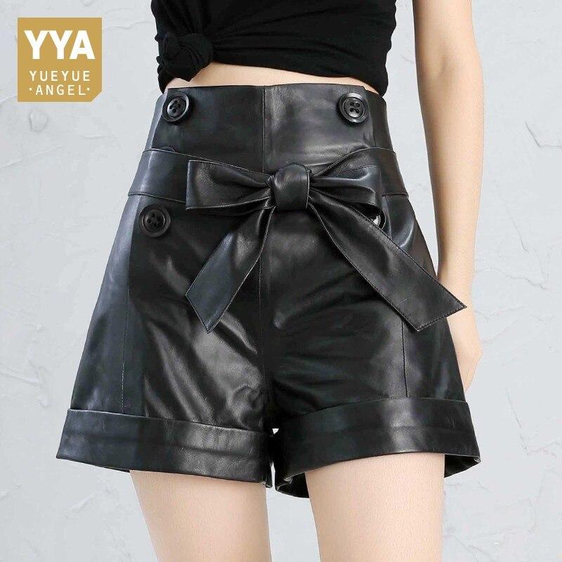 Shorts Plus-Size Feminino Black Vintage Korean-Style High-Waist Women Bow Red Real-Sheepskin