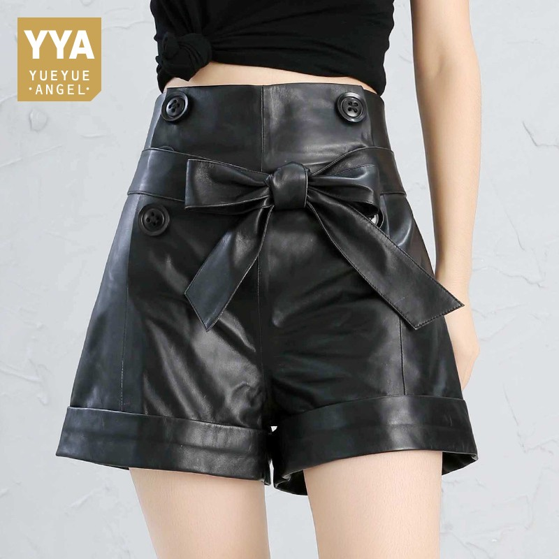 2020 Bow Leather Shorts Women Real Sheepskin Red Black Plus Size High Waist Shorts Feminino Vintage Korean Style Leather Shorts