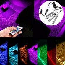 4 шт. 5050 9 SMD 10 Вт RGB LED авто интерьер этаж Декоративные Атмосфера лампы газа путь деко пол свет Дистанционное управление