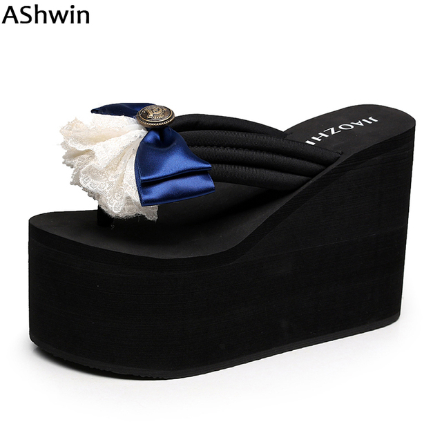AShwin women summer flowers sandals super high heels pearls beach slippers  hawaiian mules clogs bohemia shoes 58c31578aead