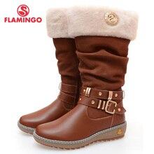 2015 г. качественная модная зимняя кожаная детская обувь для девочек с изображением фламинго, новая коллекция, Нескользящие ботинки с натуральной шерстью, 52-CC341