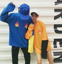 Korean influx of people Harajuku wind loose sleeves spell color false flame printed Sweatshirts