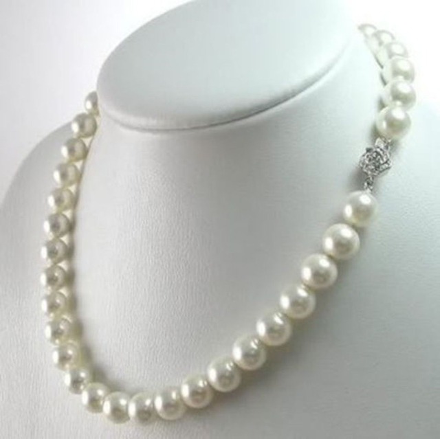 "Free shipping hot sale Women Bridal Wedding Jewelry >>Natural 9-10MM South Sea White Real Pearl Necklace 18"" AA"