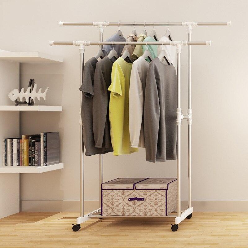 Stainless steel drying racks balcony adjustable double pole floor drying home living room bedroom hangers Coat rack Clothes rod