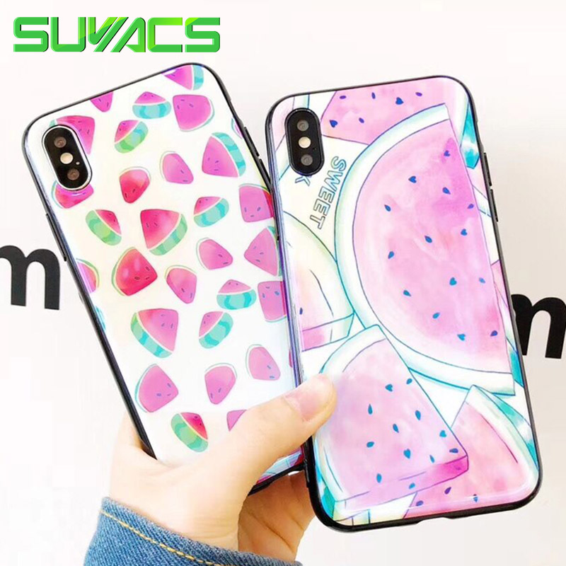 SUYACS Shiny Blu-ray Laser Phone Case For iPhone 6 6S 7 8 Plus X Glossy Cool Summer Watermelon Soft IMD Silicon Cases Cover Bag