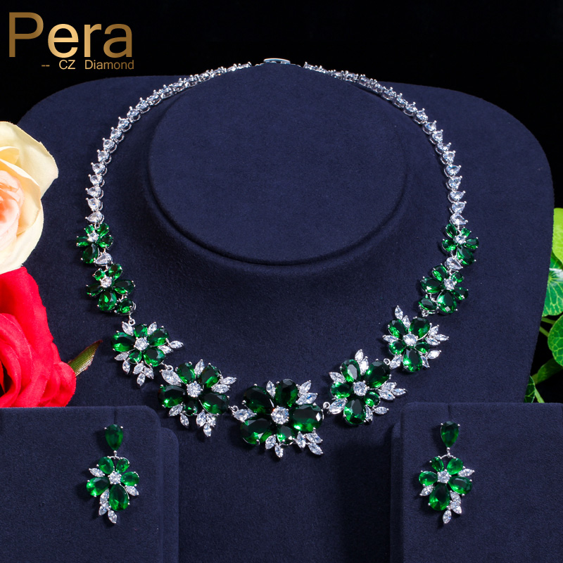 Pera Classic Big Exaggerated Flower Cubic Zirconia African Women Party Necklace And Earrings Jewelry Set With Green Stone J125 pera elegant women pearl jewelry set for party gift big leaf shape cubic zirconia long dangle necklace and earrings j233