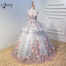 Dream Wedding Dress Princess Bridal Formal Ball Gowns Middle East 2018 Flower Lovely Brides Dress Maxi Gown Women Customized