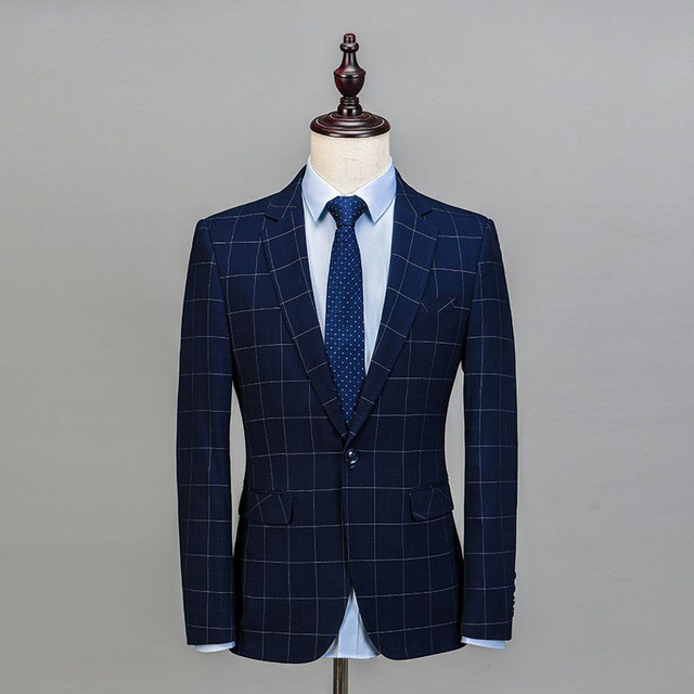 2019 Royal Blue 3 Pieces Mens Suits Plaid Slim Fit Wedding Suits Groom Tweed Wool Tuxedos for Wedding (Jacket+Pants+Vest)  4