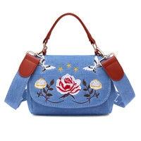 Simple Fashion Women Messenger Bag Denim Canvas Flower Butterflies Printing Ladies Girls Casual Shoulder Bags LBY2017