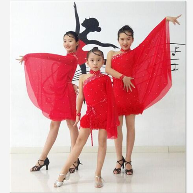 High Grade Girls Professional Latin Dance Dress Gorgeous Sequined Single Batwing Sleeve Dots Sash Children Red Dance Costume