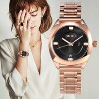 Saatler'ten Kadın Saatleri'de GUOU kadın Saatler En Lüks Bayanlar Saatler Kadınlar Için Bilezik Saat Moda Elbise Saatler Relogio Feminino Reloj Mujer