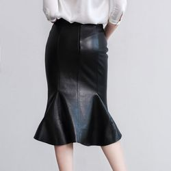 2019 Nieuwe Mode Sexy OL Stijl Formele Ruches Trompet Knie Lengte Lederen Vrouwen Vrouwelijke Rokken Schapenvacht Zwart Plus Size