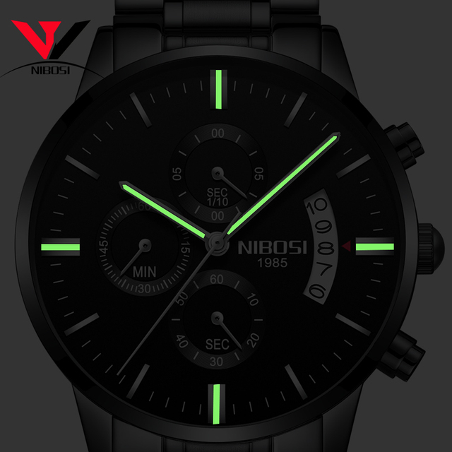 NIBOSI Relogio Masculino Watch Men Gold And Black Mens Watches Top Brand Luxury Sports Watches 2019 Reloj Hombre Waterproof      5