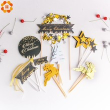 1Set Merry Christmas Cake Toppers Gold Black Bling Star Decor Festival Party Decorations Dessert Supplies